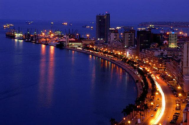 Bay of Luanda at night.